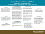 Students' Research Skills and Self Efficacy Gained in an Online Laboratory by Lee Stadtlander, Martha Giles, and Amy Sickel