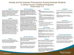 Anxiety and the Imposter Phenomenon Among Graduate Students in Online Versus Traditional Programs by Christy B. Fraenza