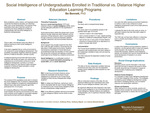 Social Intelligence of Undergraduates Enrolled in Traditional vs. Distance Higher Education Learning Programs by Boderick Bennett